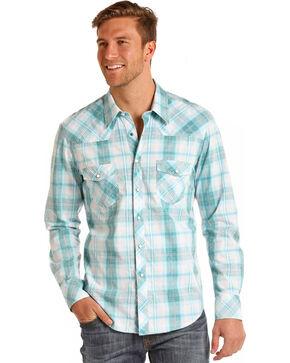 Rock & Roll Cowboy Men's Long Sleeve Light Blue Plaid Button Down, White, hi-res
