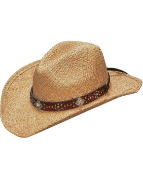 Blazin Roxx Scroll Studded Croc Print Hat Band Raffia Straw Cowgirl Hat, Natural, hi-res