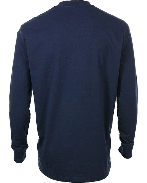 Wrangler Riggs Men's Long Sleeve Pocket Henley - Big, Navy, hi-res