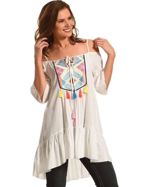 Young Essence Women's Drop Shoulder Tassel Tunic, White, hi-res