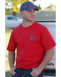 Cinch Men's Red Logo Short Sleeve Cotton Jersey Tee , , hi-res