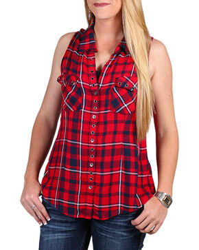 Shyanne® Women's Sleeveless Plaid Button Up Top, Red, hi-res