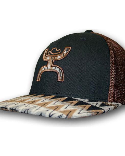 HOOey Men's Tut Aztec Print Trucker Ball Cap, Black/brown, hi-res