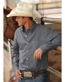 Cinch Men's Grey Print Modern Fit Long Sleeve Shirt , , hi-res