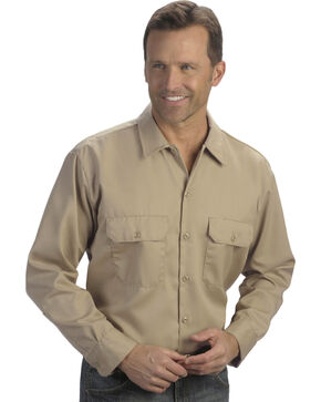 Dickies Men's Khaki 2 Pocket Work Shirt - Big, Beige/khaki, hi-res