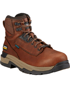 "Ariat Mastergrip 6"" H2O Briar Brown Work Boots, Briar, hi-res"