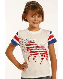 Rock & Roll Cowgirl Girls' White Stars and Strips Horse Tee , , hi-res