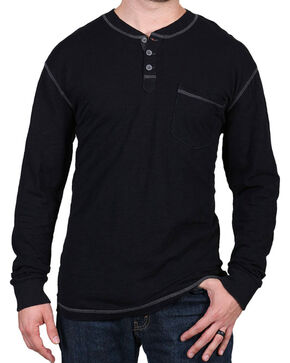 Moonshine Spirit® Men's Solid Long Sleeve Henley , Black, hi-res