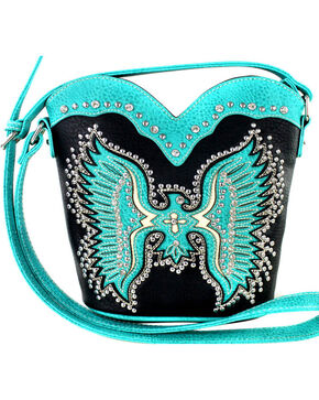 Montana West Cut-Out Native American Thunderbird Crossbody Bag, Black, hi-res