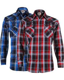 Ely Cattleman Men's Assorted Plaid Western Filigree Long Sleeve Shirt , , hi-res
