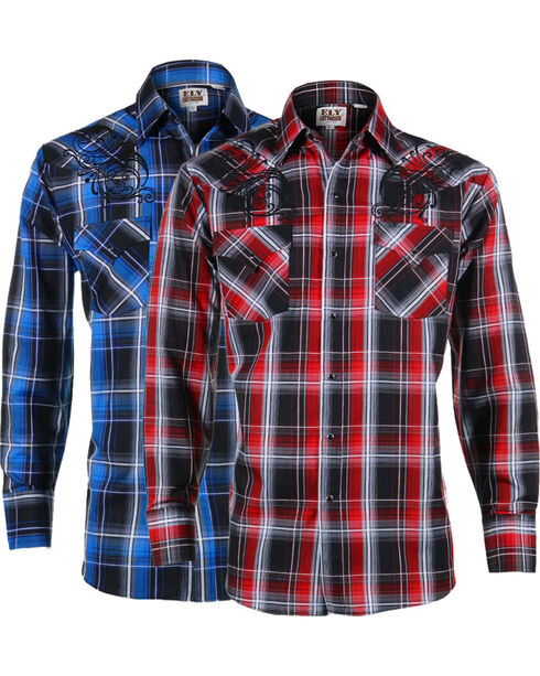 Ely Cattleman Men's Assorted Plaid Western Filigree Long Sleeve Shirt , Multi, hi-res