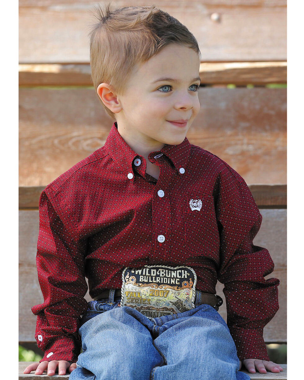 Cinch Toddler Boys' Red Rectangle Geometric Print Shirt , , hi-res
