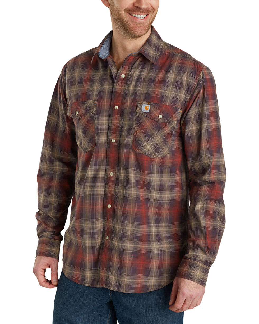 Carhartt Men's Dark Brown Rugged Flex Bozeman Long Sleeve Shirt , Dark Brown, hi-res