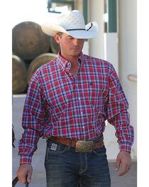 Cinch Men's Red Plain Weave Plaid Long Sleeve Button Down Shirt, , hi-res