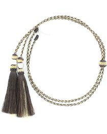 Black & Blonde Braided Horsehair Tassels Stampede String, , hi-res
