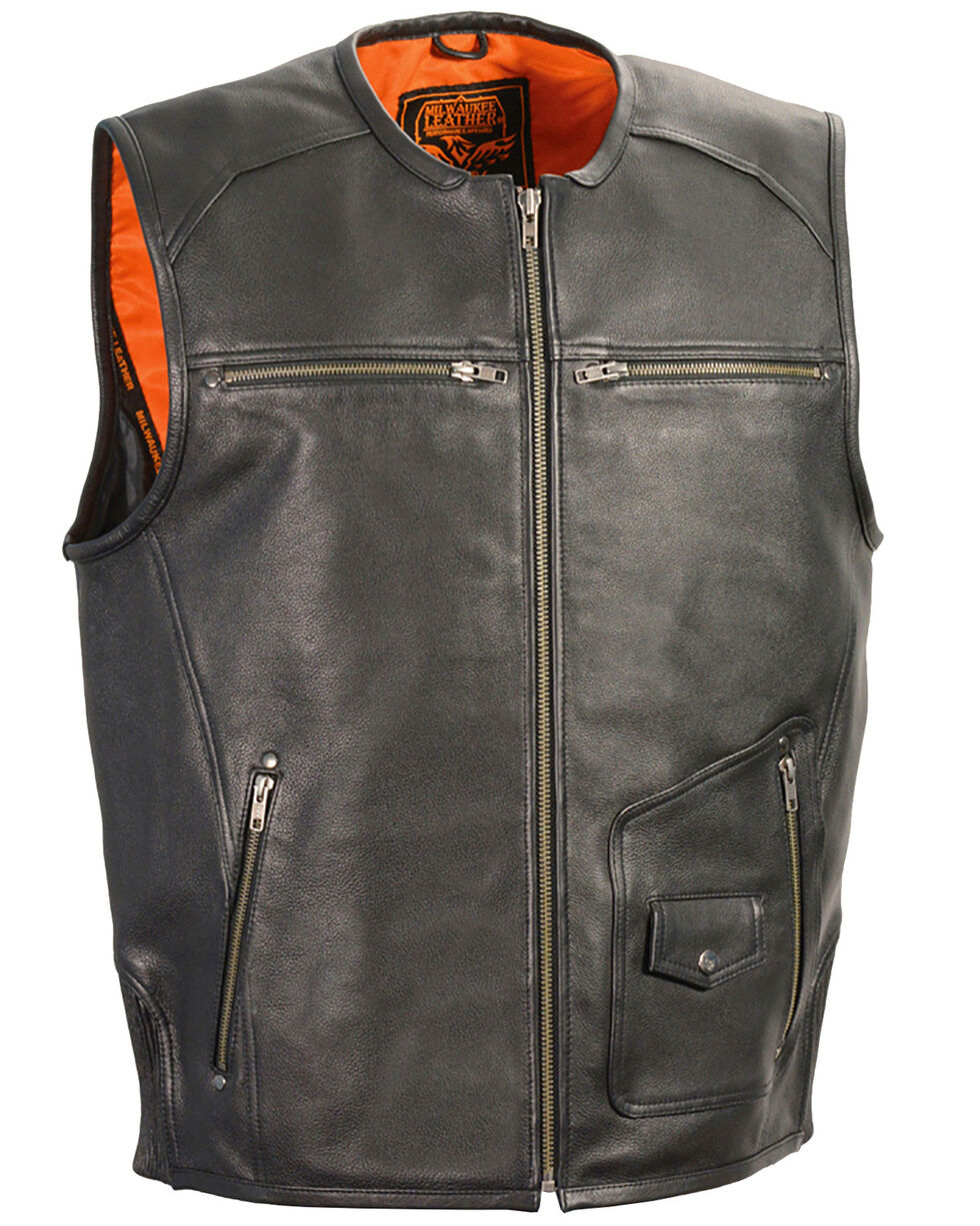 Milwaukee Leather Men's Zipper Front Vest With Side Stretch Flex - 5X, Black, hi-res