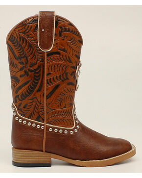 Blazin Roxx Girls' Cross Cowgirl Boots - Square Toe, Brown, hi-res