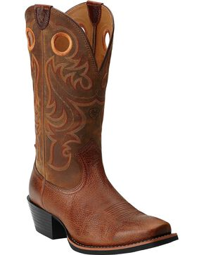 Ariat Sport Cowboy Boots - Square Toe, Brown, hi-res