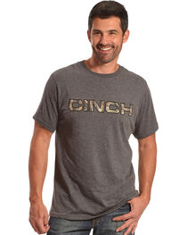 Cinch Men's Heather Charcoal Max5 Camo Logo Crew Neck Tee, , hi-res