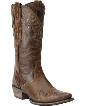 Ariat Women's Zealous Wingtip Western Boots, Brown, hi-res