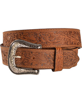 Cody James Men's Floral Tooled Belt, Brown, hi-res
