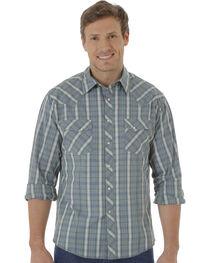 Wrangler Fashion Snap Men's Green Plaid Western Shirts, , hi-res