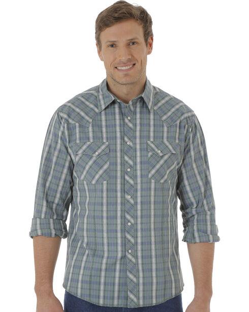 Wrangler Fashion Snap Men's Green Plaid Western Shirts, Green, hi-res