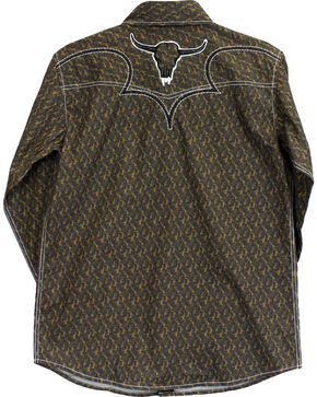 Cowboy Hardware Boys' Steer Skull Long Sleeve Print Shirt, Brown, hi-res
