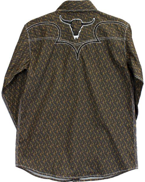Cowboy Hardware Boys' Steer Skull Long Sleeve Print Shirt, Brown, hi-res