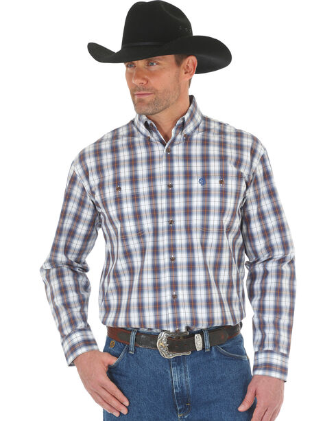 Wrangler George Strait Men's Blue/White Poplin Plaid Button Shirt, Blue, hi-res