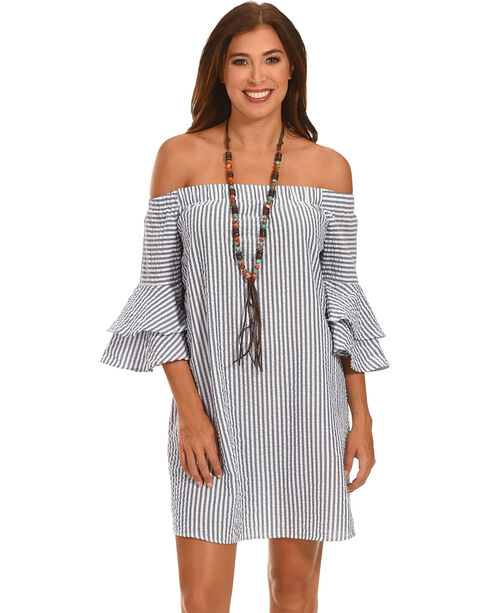 Ces Femme Women's Off The Shoulder Bell Sleeve Dress , Grey, hi-res
