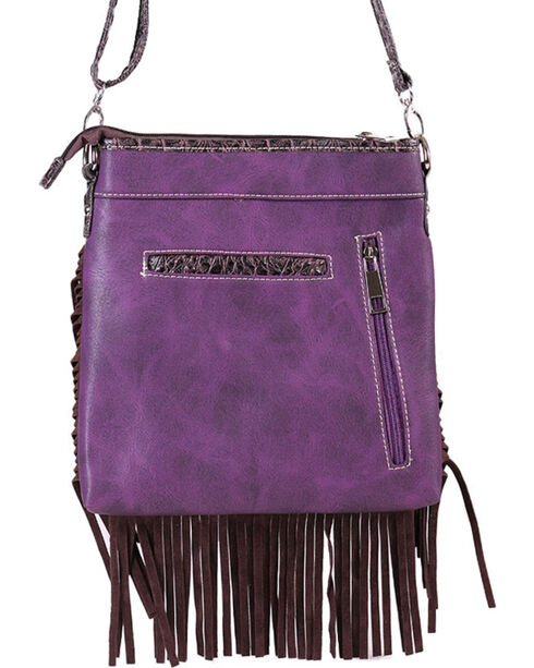 Savana Women's Fringe Trimmed Sugar Skull Crossbody Bag, Purple, hi-res