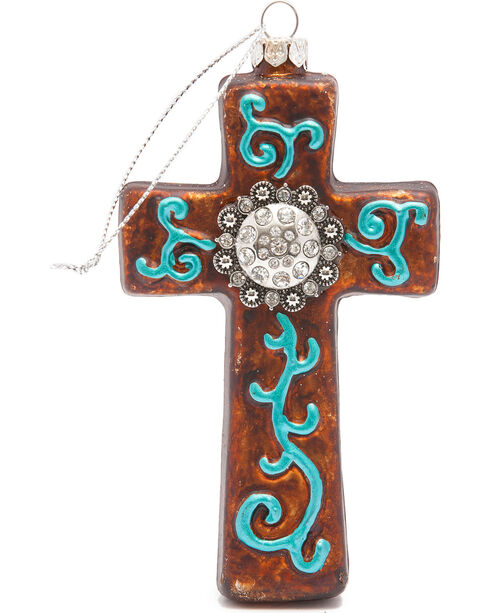 BB Ranch Western Cross and Rhinestone Concho Ornament, No Color, hi-res