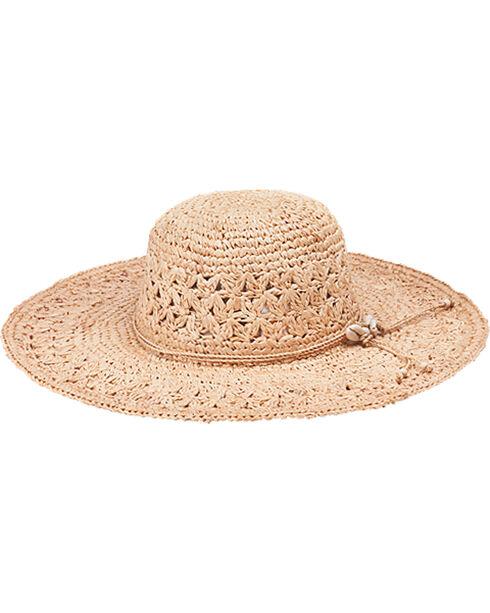 "Peter Grimm Bohemme 4 1/2"" Puka Shell Natural Raffia Straw Sun Hat, Natural, hi-res"