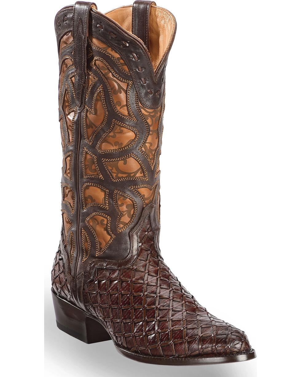 El Dorado Men's Handmade Basket Weave and Inlay Western Boots - Pointed Toe, Chocolate, hi-res
