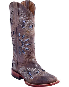 Ferrini Women's Masquerade Western Boots - Square Toe , Brown, hi-res