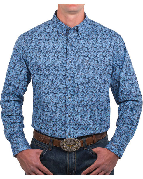 Noble Outfitters' Men's Patterned Button Down Shirt, Blue, hi-res