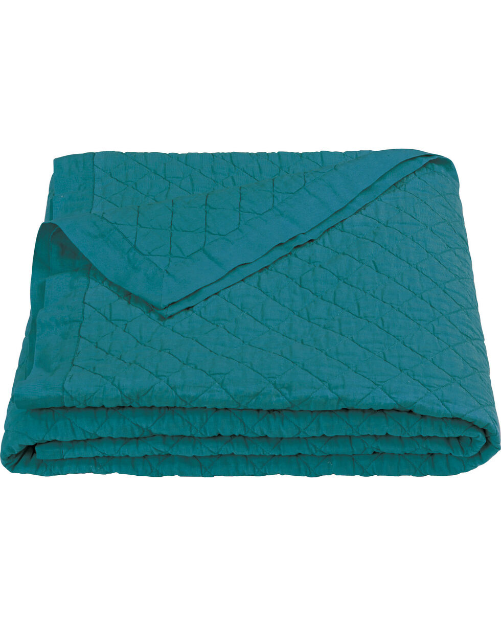 HiEnd Accents Diamond Pattern Turquoise Linen Twin Quilt, Turquoise, hi-res
