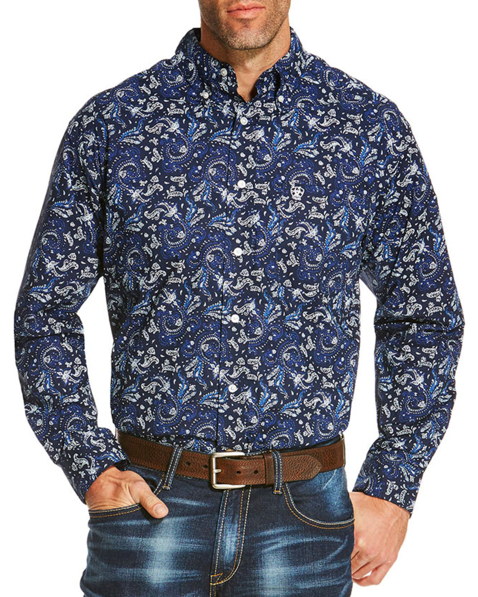 Ariat Men's Paisley Patterned Button Down Long Sleeve Shirt , Navy, hi-res