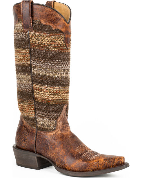 Roper Women's Avril Vintage Stripe Snip Toe Western Boots, Brown, hi-res