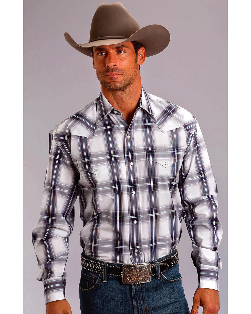Stetson Men's Navy Plaid Long Sleeve Snap Shirt, Blue, hi-res