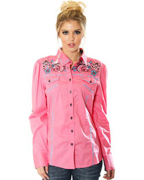 Grace in LA Women's Embroidered Western Long Sleeve Shirt, , hi-res