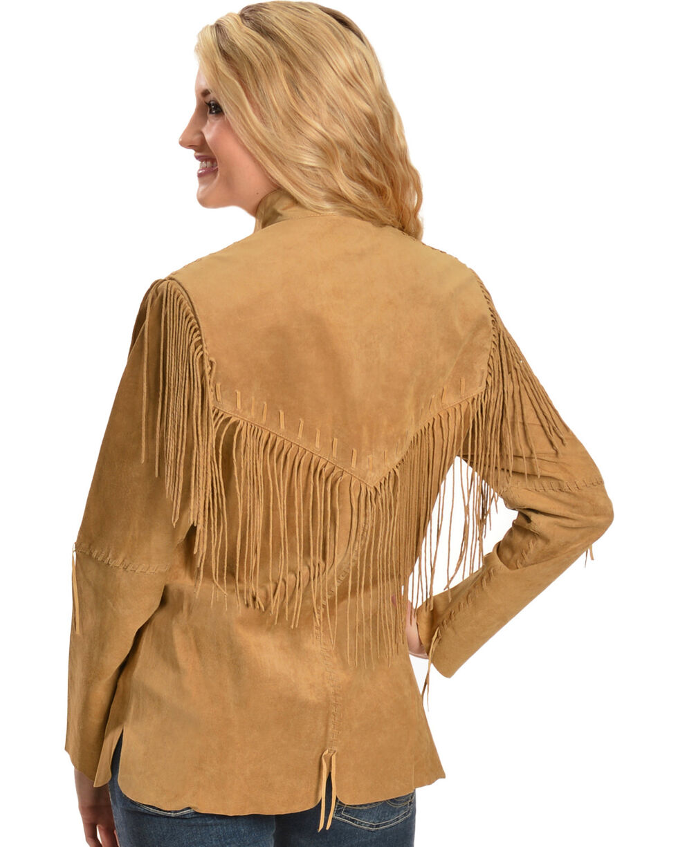 Scully Women's Fringe Jacket, Tan, hi-res