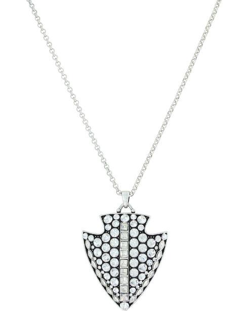 Montana Silversmiths Women's Silver Glam Arrowhead Necklace , Silver, hi-res