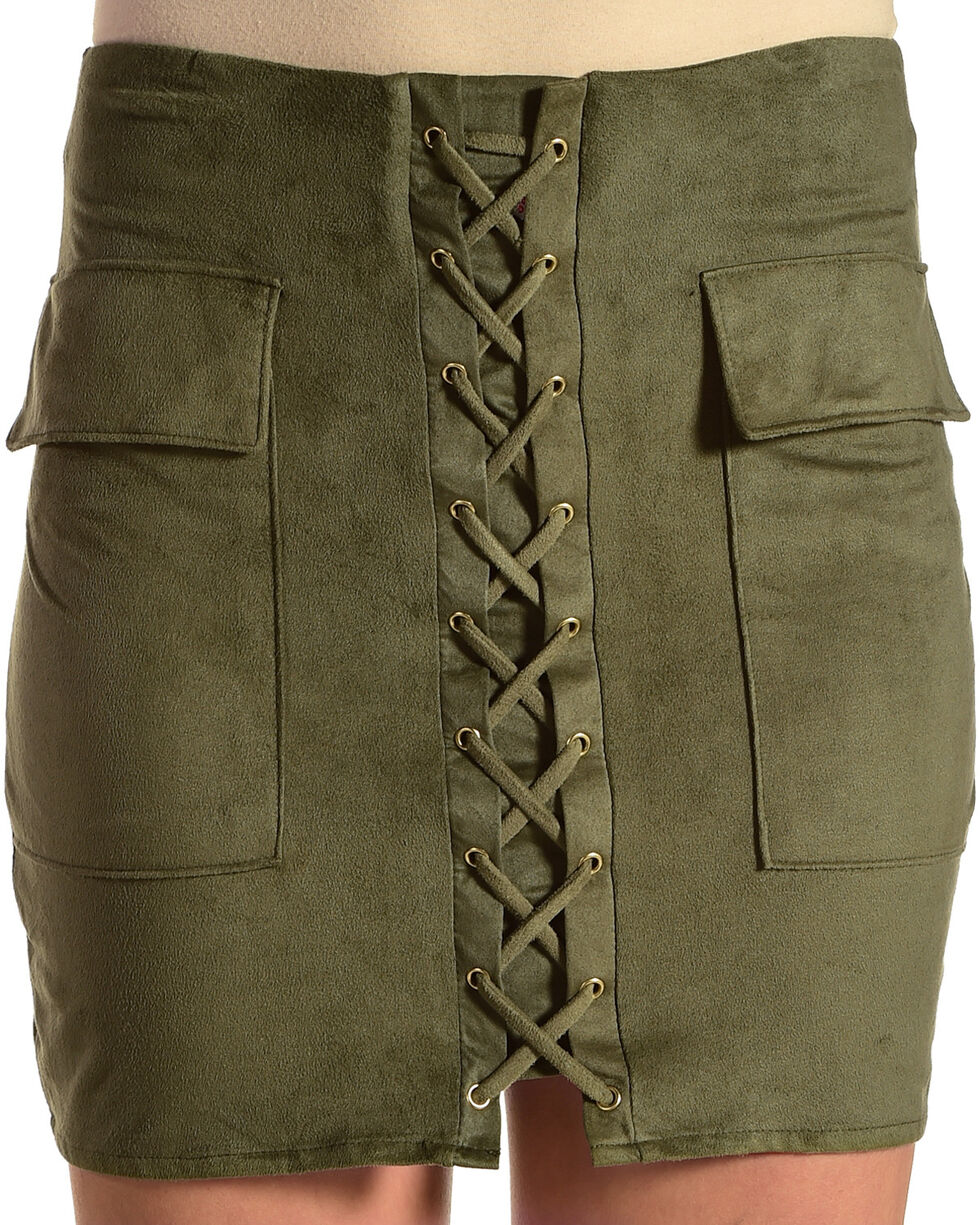 Luna Chix Women's Olive Faux Suede Lace Up Mini Skirt, Olive, hi-res