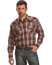 Ely Cattleman Men's Burgundy Assorted Textured Plaid Long Sleeve Western Snap Shirt - Tall, , hi-res