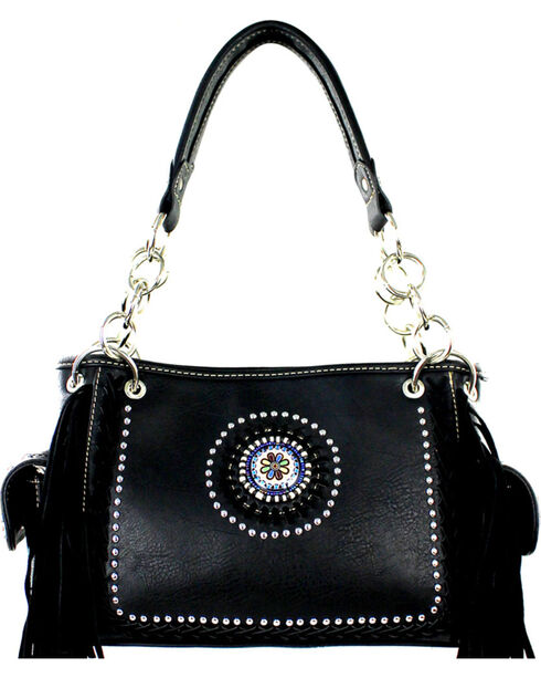 Montana West Black Fringe Collection Satchel, Black, hi-res