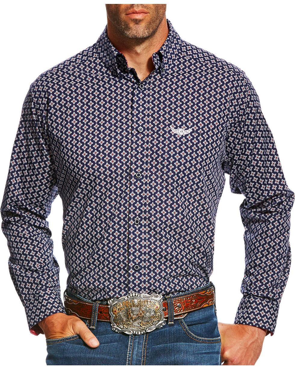 Ariat Men's Navy Bold Print Western Shirt , Navy, hi-res