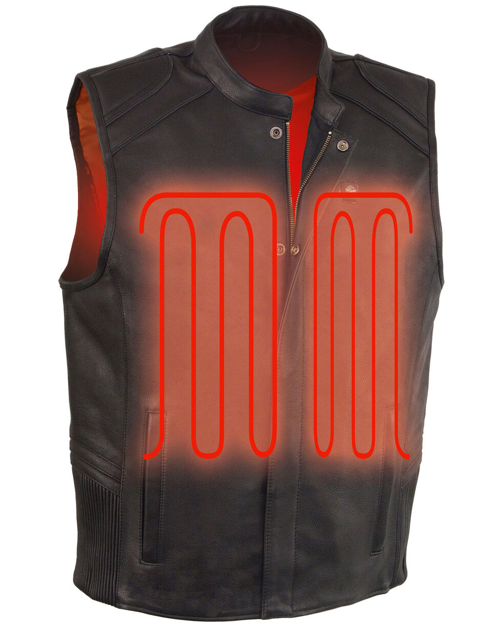 Milwaukee Leather Men's Black Heated Technology Leather Vest - 5X , Black, hi-res