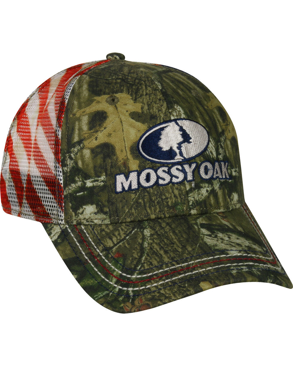 Mossy Oak Men's Camouflage Americana Mesh Back Cap , Camouflage, hi-res